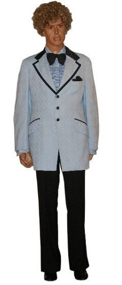 Vintage costumer 39 s historical 1970 39 s costumes disco for Powder blue tuxedo shirt